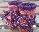 Sunset and Purple Woollen Baby Boots - Toddler Slippers - to suit 9 to 14 months old