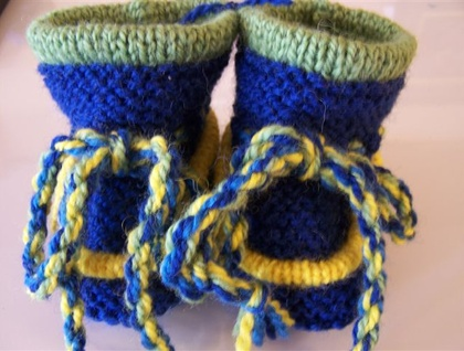 1 -10mth - Denim and Lime Wool Baby Boots - Toddler Slippers