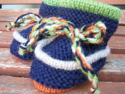 Navy Green and Orange - Woollen Baby Boots - Toddler Slippers