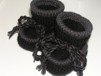 Black and Grey - Woollen Baby Boots - Toddler Slippers
