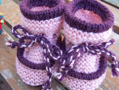 Pale Pink Woollen Baby Boots - Toddler Slippers