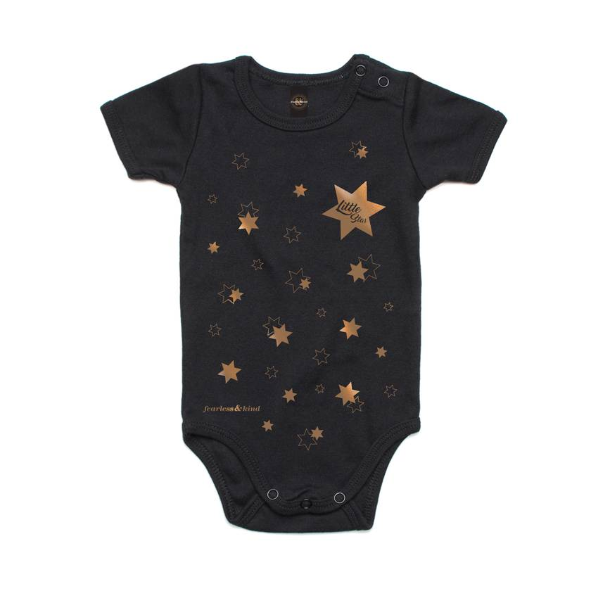 """Baby Boo """"Little Star""""  Black with Metallic Rose Gold"""