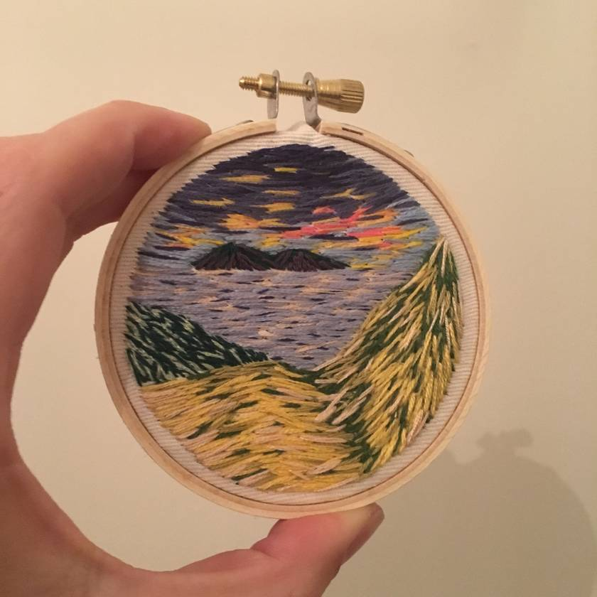 Mini landscape embroidery - coromandel coast