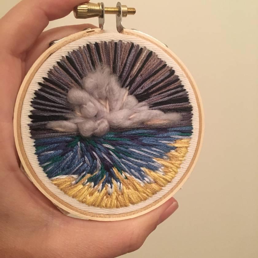 Mini landscape embroidery - stormy seas