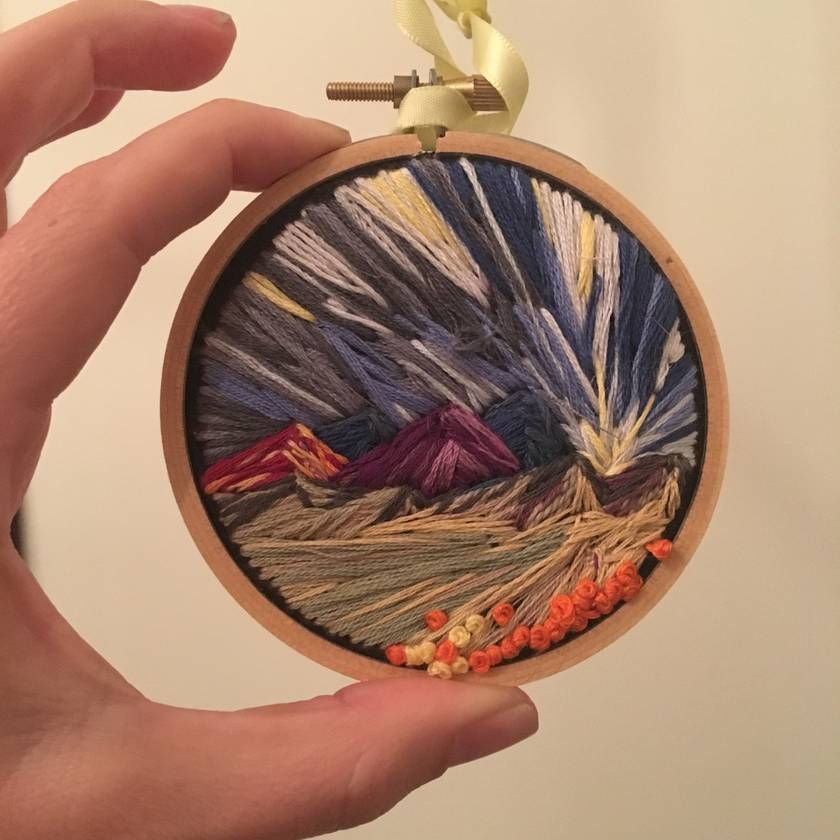Mini landscape embroidery - mountains
