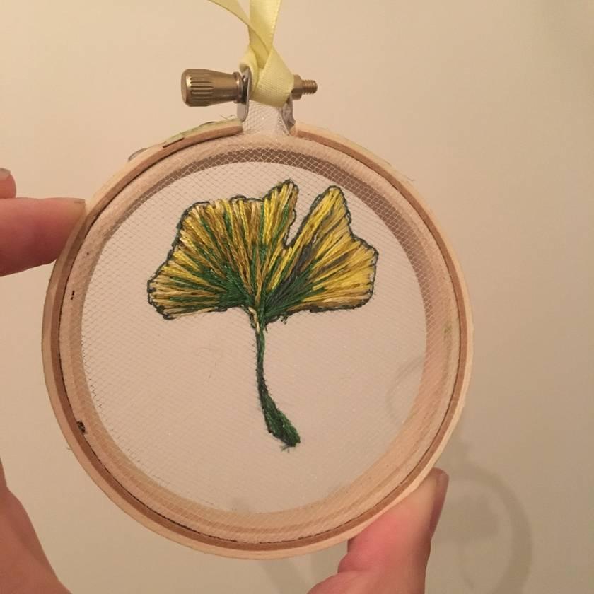 Mini floating embroidery - ginkgo leaf