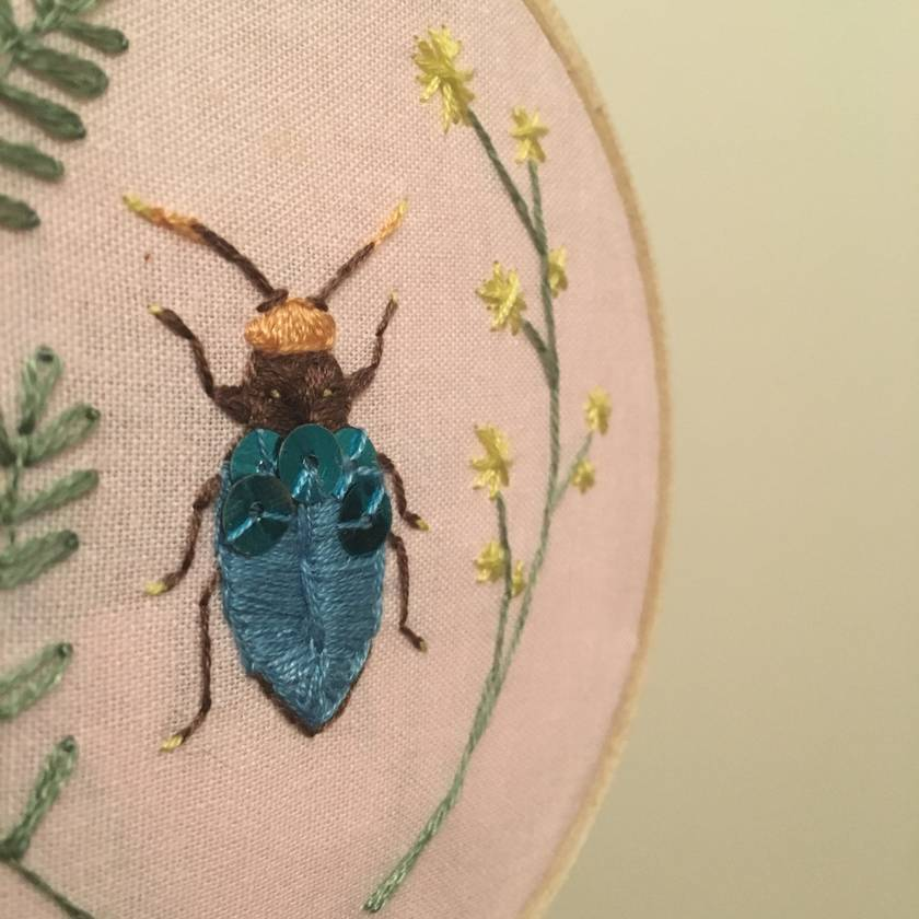 Mini beetle embroidery