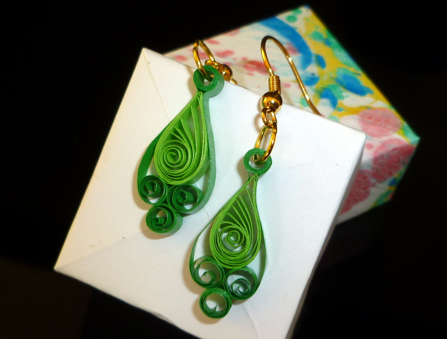 Quilling Earrings Designs Latest : Quilled Earrings - Fern and Forest Green
