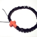 Black Square Bead with Tangerine Cross