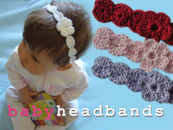 Crochet Headband Pattern Newborn : Baby Crochet Headband with Flower Felt