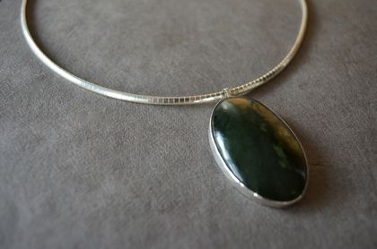 Large Greenstone (Pounamu) and Sterling Silver Oval Pendant