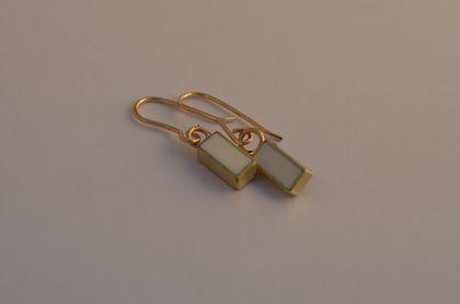 White rectangle earrings on 9ct gold hooks
