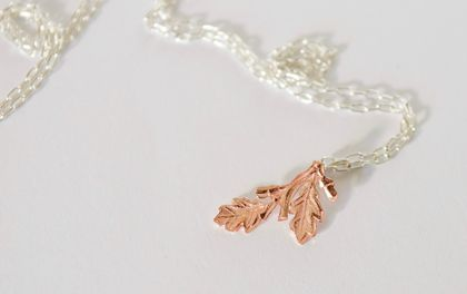 Little Acorn Necklace in copper on a sterling silver chain