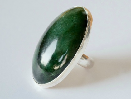Large greenstone and sterling silver oval ring
