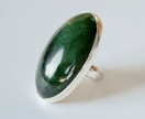 Large pounamu/ greenstone and sterling silver oval ring