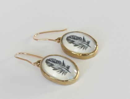 Gold Oval Feather Earrings- 9ct gold hooks
