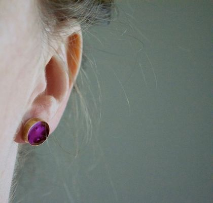 Pink brass, resin and sterling silver stud earrings