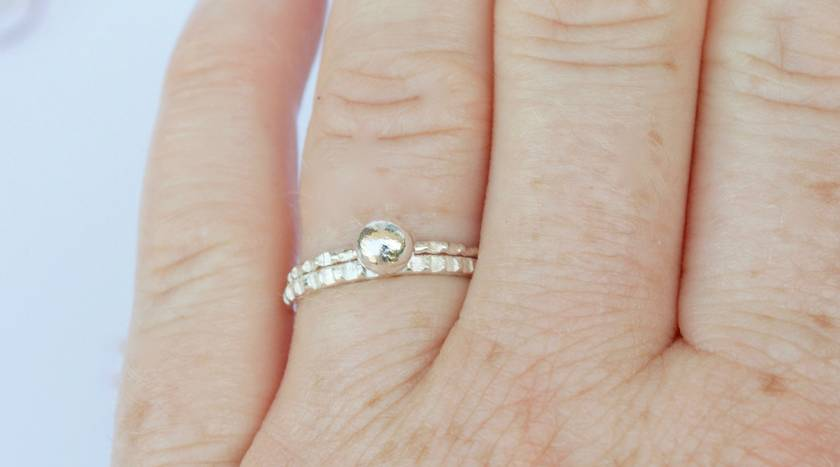 Sterling silver twin set rings