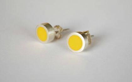 Sterling silver earrings with a bright yellow feature