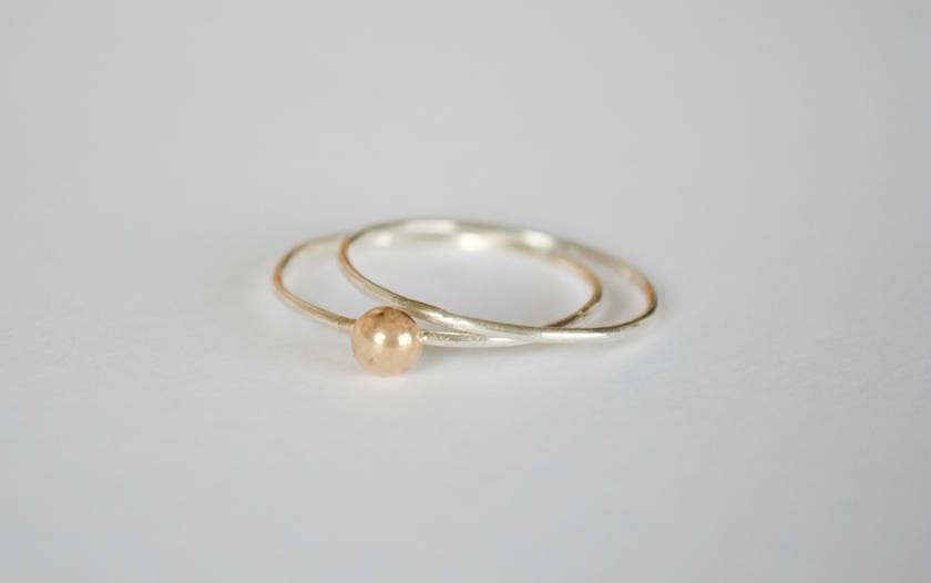 Sterling silver twin set rings with a 9ct gold button