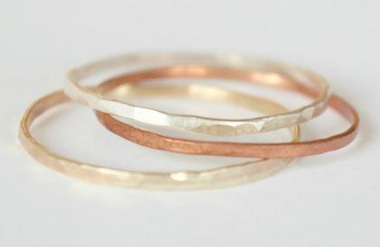 Three Textured Stacker Rings- 1 Sterling silver, 1 9ct yellow gold, 1copper