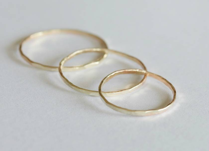 Three gold rings- 9ct yellow or rose