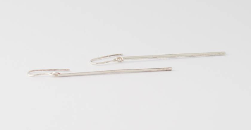 Long sterling silver bar earrings