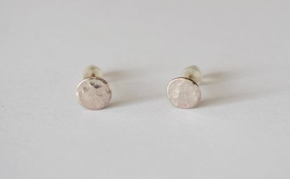 Medium textured studs in sterling silver