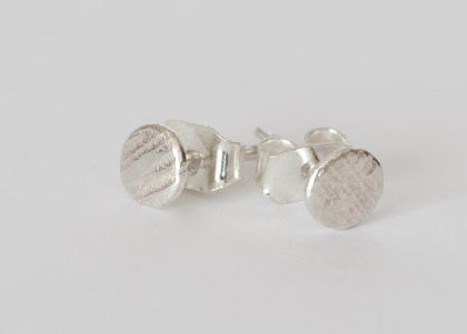 Small textured studs in sterling silver