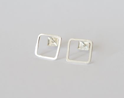 Square studs in sterling silver