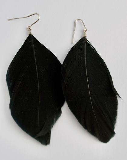 Black feather and sterling silver earrings