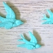 Set of 3 Baby Blue Coloured Birds - Ready to hang on the Wall