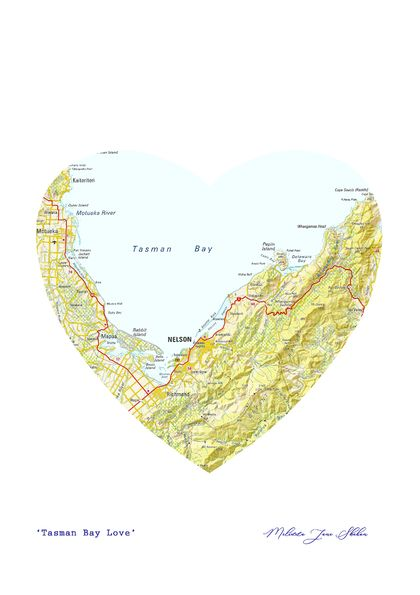 Nelson Area Heart Map - A3 print