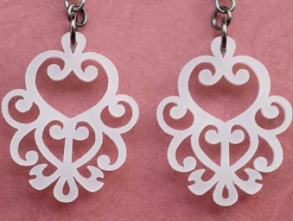 White filigree earrings