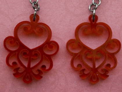 Red filigree earrings