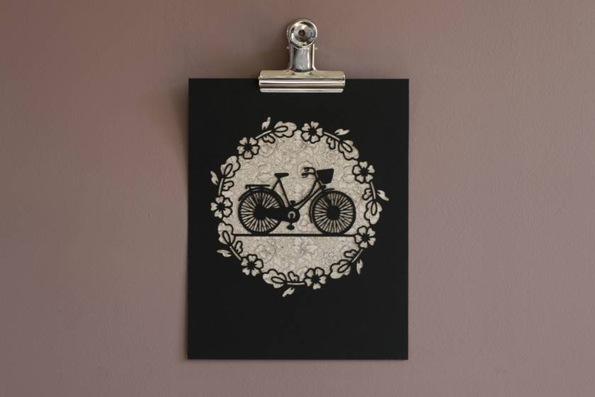 Bicycle papercut – Vintage Pattern/Black