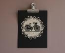 Bicycle papercut  Vintage Pattern/Black
