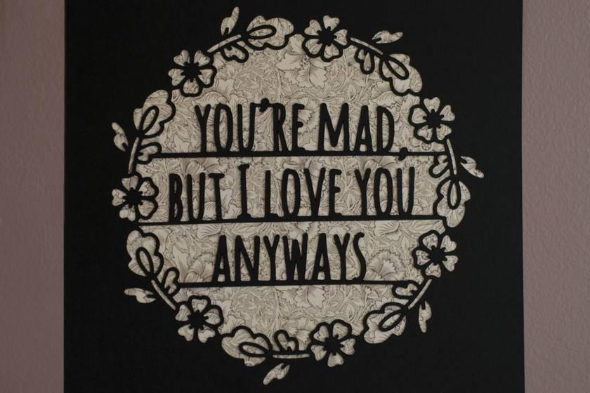 I love you papercut – Vintage Pattern/Black