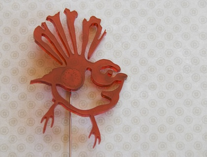 Red fantail brooch