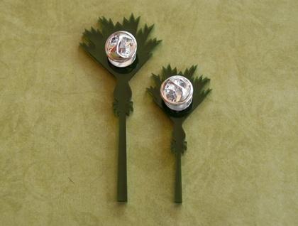 Nikau brooches – set of 2 green