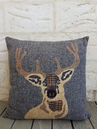 SALE - Stag head applique wool cushion