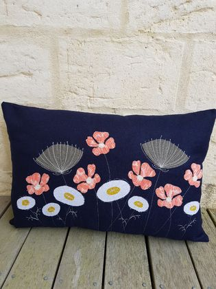 Navy wool flower cushion