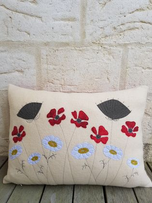 Cream wool flower cushion