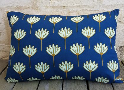 Blue and mustard cushion