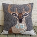 SALE - Stag head applique wool cushion
