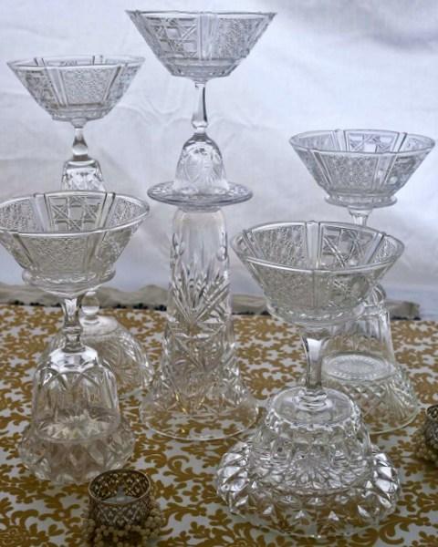 Unique Candle Holders: Unique Cut-Glass/Crystal Candle Holder Set (x5)