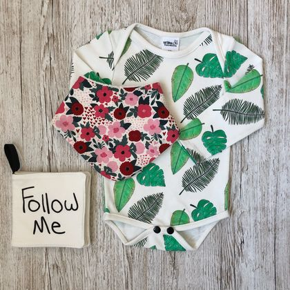 Organic Long Sleeve Bodysuit - Tropical