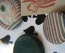 Vintage kimono fabric brooch set