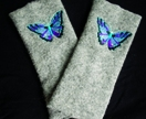 Stunning woollen fingerless gloves - light grey with beautiful butterfly embroidery