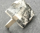 Rutilated quartz trapezoid cabochon in sterling silver minimalist setting ring